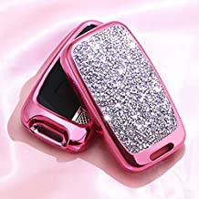Royalfox(TM) 5 Buttons 3D Bling Fashion Girly keyless Remote Smart Key Fob case Cover for Land Rover Defender Discovery Sport LR3 LR4 Range Rover Sport EVOQUE and Jaguar XF XJ XJL XE F-PACE (Pink)