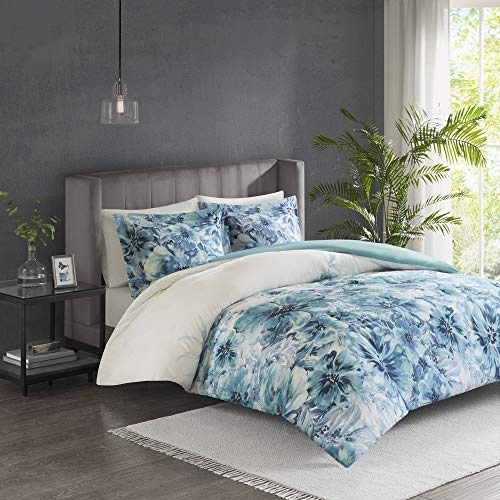 Madison Park Enza Duvet Cover Reversible Solid 100% Cotton Percale Face Corner Ties Floral Botanical Flower Pattern Water-Color Printed Ultra Soft All Season Bedding-Sets, King/Cal King, Teal