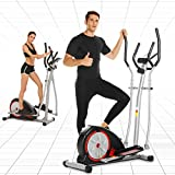 ANCHEER Magnetic Elliptical Machine, Fitness Compact Ellptical Machine with Digital Monior, 8 Level Resistance, LCD Heart Rate Sensor for Home Use Cardio Training (Dark Black)