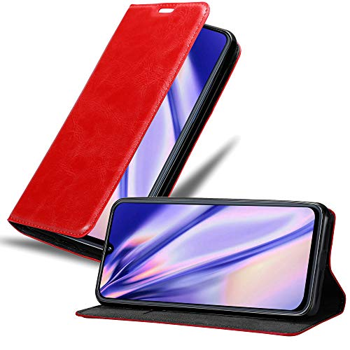 Cadorabo Hülle für Samsung Galaxy A40 in Apfel ROT – Handyhülle mit Magnetverschluss, Standfunktion & Kartenfach – Case Cover Schutzhülle Etui Tasche Book Klapp Style