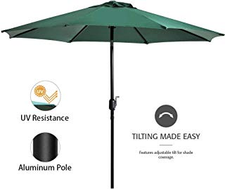Snail 9 feet. Aluminum Patio Umbrella Sun ray Protection Outdoor Table Market Umbrella with Push Button Tilt/Crank Lift