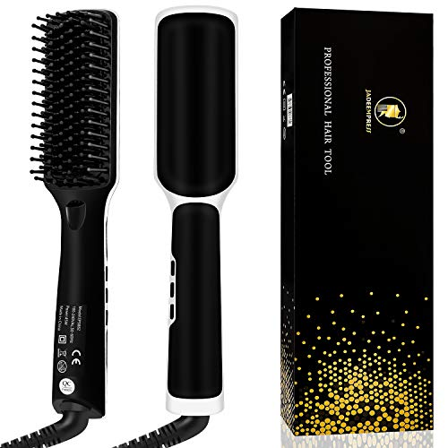 Beard Straightener for Men Ionic Premium Hair Straightening Brush Beard/Hair Straightener with Anti-Scald Feature Portable Beard Straightener Comb with LED Display for Home & Travel