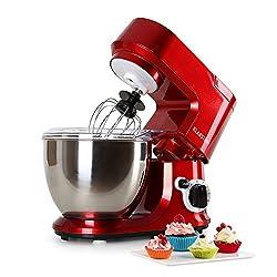 Klarstein TK2-CARINA ROSSA Küchenmaschine Knetmaschine inklusive Zubehör, 800 W , 4 L, Edelstahl-Schüssel, 6 Geschwindigkeiten, rot
