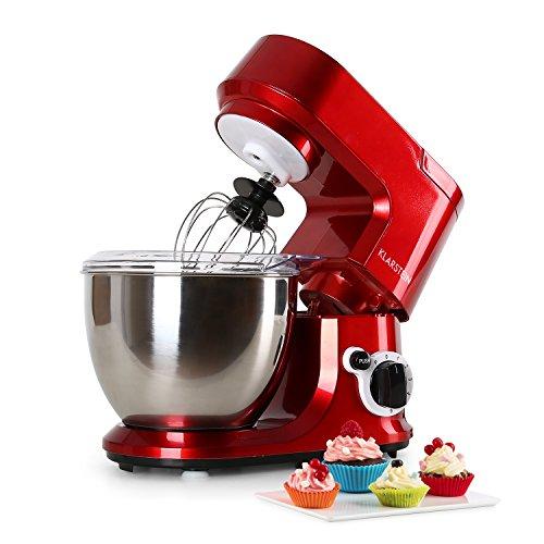 Klarstein Carina Rossa - Robot de cocina multifunción, Batidora, Amasadora, 800 W, 4 L, Batido planetario, 6 niveles de velocidad, Recipiente de acero inoxidable, Bloqueo de seguridad, Rojo