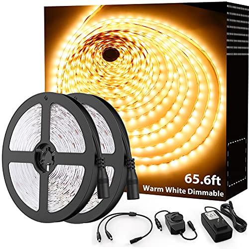 Onforu 65.6ft Warm White LED Strip Light, 3000K Dimmable Soft White Tape Light, 20m Bright 1200 LEDs 2835 Flexible Ribbon Light, 12V Adhesive Rope Lights for Kitchen, Under Cabinet, Bedroom, Wardrobe