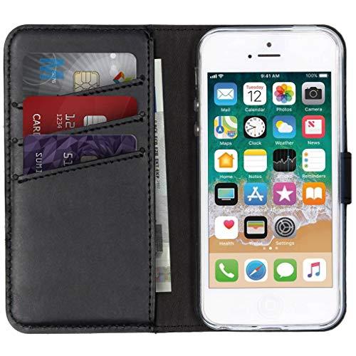 Selencia kompatibel mit iPhone 5 / 5s,iPhone SE Hülle – Era Leder Handytasche Side Flip Hülle – Handyhülle aus Rindsleder in Schwarz [3 Kartenfächer, Magnetverschluss]