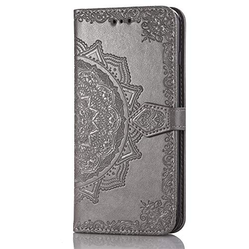 Huawei P10 Lite Wallet Case Grey Mandala, Huawei P10 Lite Flip Case with Card Holder, Patterned Faux Leather Phone Cover with Magnet Kickstand & Wrist Strap for Huawei P10 Lite Case Women