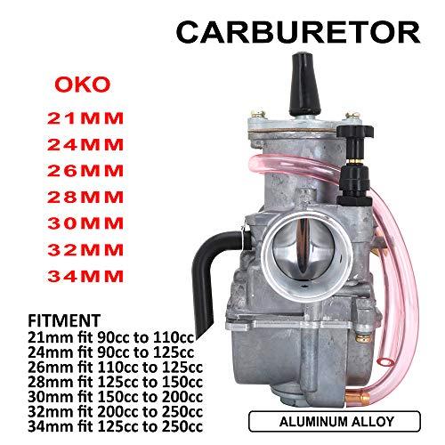 Fastpro - Carburador de aleación de aluminio para motocicleta 21 mm, 24 mm, 26 mm, 28 mm, 30 mm, 32 mm, 34 mm