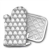 Wfispiy Jumbo Elephant on Grey Cute Pug Manoplas para horno y agarraderas (2 piezas), soporte para ollas y guantes de hornear, extra largo profesional resistente al calor, apto para alimentos