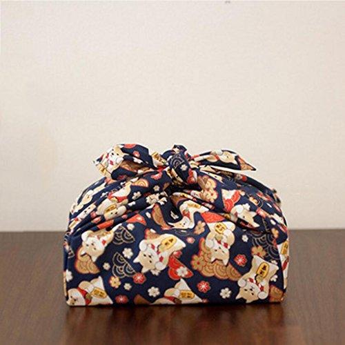 MXJ61 Tissu de déjeuner de vaisselle de serviette de impression de coton 50 * 50cm ( Couleur : Bleu foncé , taille : 3 Pcs/Set )