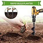 """SETROVIC Garden Spiral Hole Drill Planter 1.6""""x18"""" & 4""""x12"""" Garden Auger Bulb Planter Tool Rapid Planter Garden Drill Planter Hole Digger for 3/8"""" Hex Driver Drill 2-in-1 Set 12 【2-in-1 Set】1.6""""x18"""" & 4""""x12"""" bulb planter suitable for various planting requirements. Thickened and elongated drill enables easier drilling and thickened link rod is more durable and resistant, quickly digs holes up using the power of your hand held drill. 【High Quality Products】 Made of heavy duty steel, with premium glossy painted finish. The auger drill bit point on it hits the ground first and keeps it steady when you are digging hard grounds. The rod is connected with the shaft, it's difficult to break.This auger drill bit is suitable for most 3/8"""" hex drive drill. 【Efficient Planting】Our bedding plants drill bit will make hundreds of holes in few minutes, makes hole digging easier, it will save your time & save your back. The long size drill bit allows you to stand and dig. It can save much effort for you in massive digging."""