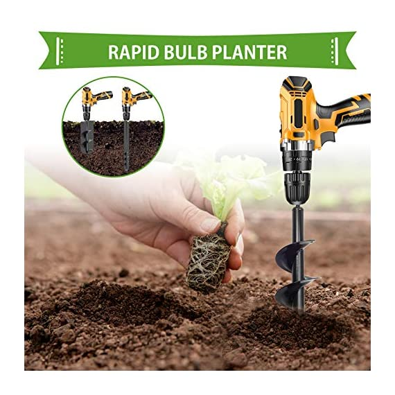 """SETROVIC Garden Spiral Hole Drill Planter 1.6""""x18"""" & 4""""x12"""" Garden Auger Bulb Planter Tool Rapid Planter Garden Drill Planter Hole Digger for 3/8"""" Hex Driver Drill 2-in-1 Set 3 【2-in-1 Set】1.6""""x18"""" & 4""""x12"""" bulb planter suitable for various planting requirements. Thickened and elongated drill enables easier drilling and thickened link rod is more durable and resistant, quickly digs holes up using the power of your hand held drill. 【High Quality Products】 Made of heavy duty steel, with premium glossy painted finish. The auger drill bit point on it hits the ground first and keeps it steady when you are digging hard grounds. The rod is connected with the shaft, it's difficult to break.This auger drill bit is suitable for most 3/8"""" hex drive drill. 【Efficient Planting】Our bedding plants drill bit will make hundreds of holes in few minutes, makes hole digging easier, it will save your time & save your back. The long size drill bit allows you to stand and dig. It can save much effort for you in massive digging."""