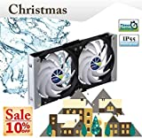 Titan- 12V DC IP55 Waterproof Double Rack Mount Ventilation Cooling Fan with Timer and Speed Controller- TTC-SC20 (120mm)