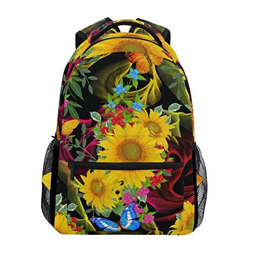 Zaino da viaggio per bambini, zaino da scuola, fiori, farfalle, girasole, farfalle