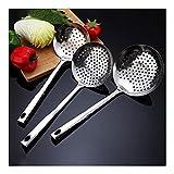 Suministros de cocina americana: un conjunto de 3 filtros de acero inoxidable de alta calidad con estilo y cómodo Skimmer Los filtros de cocción para alimentos calientes y fríos, los tamaños son 4.7in