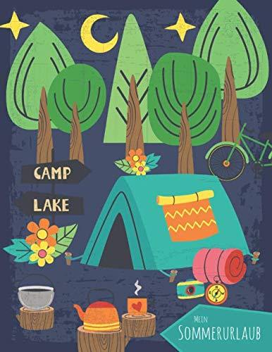 Mein Sommerurlaub: Reisetagebuch für Kinder ab 6 Jahre - Urlaubstagebuch für 3 Wochen Campingurlaub - Zelturlaub dunkelblau - Geschenkbuch - 76 Seiten - ca. DIN A4