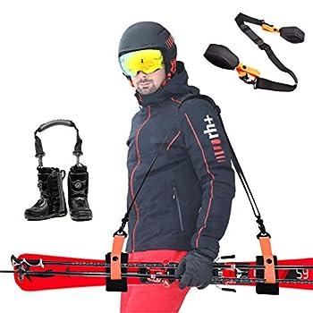 VNVM Ski Strap and Ski Boot Strap for Easy Transportation of Your Ski Gear with Anti-Slip Shoulder Pads Ski Strap Adjustable Shoulder Carrier for Men Women and Kids  Orange