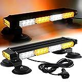 ASPL 16.8 Inch LED Strobe Flashing Light Bar, 26 Flashing Modes High Intensity Emergency Hazard Warning Beacon Lights with Magnetic Base for Car Trucks Trailer Roof Safety (Amber White Amber White)
