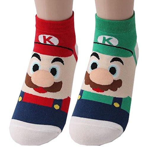 Mario Series Super Mario Bros Spiel Charakter Sneakersocken - Mario & Luigi Knöchel Socken 2 Paaren