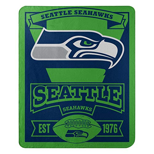 The Northwest Company Officially Licensed NFL Seattle Seahawks Marque Printed Fleece Throw Blanket, 50' x 60', Multi Color