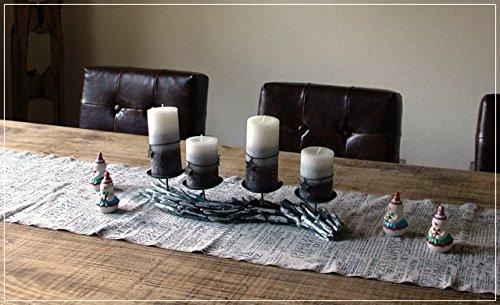 Unbekannt Adventskranz mit Kerzen Kerzenleuchter Treibholz Grau