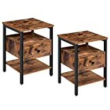 HOOBRO Nightstand Set of 2, End Table with Drawer and 3 Storage Shelves, Retro Industrial Style Side Table, for Living Room, Bedroom, Easy Assembly, Rustic Brown BF42BZP201