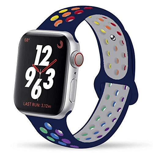 Ternzun Correa de silicona para Apple Watch Series 6, 5, 4, 3, 2, SE, 44 mm, 40 mm, para iwatch Band 42 mm, 38 mm (42, 44 mm, SM, orgullo medianoche)