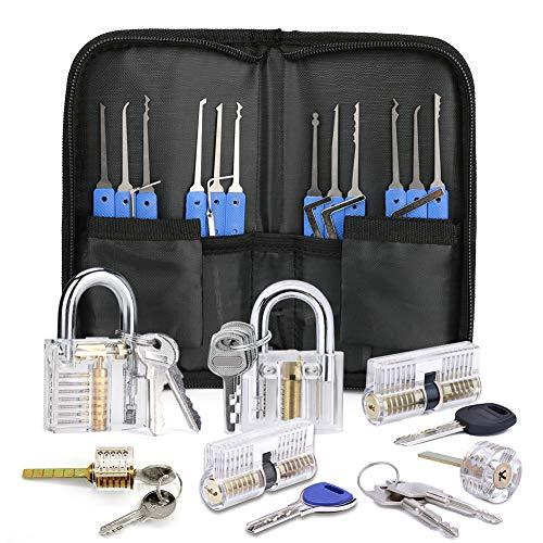 Bestcool Dietrich Set, 12 Stück Lock Picking Set mit 6 Transparenttem Vorhängeschloss Dietrichen Kit für Anfänger und Professionelle Lockpicker