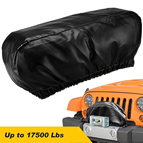 "Seven Sparta Winch Cover Heavy Duty Waterproof Winch Protection Cover, Dust-Proof,Universal Winch Protective Cover for Electric Winches Up to 17500 Lbs, 24"" W x 10"" H x 7"" D (Black)"