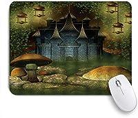 NIESIKKLAマウスパッド ファンタジー城きのこロックつる芝生ランタン妖精 ゲーミング オフィス最適 高級感 おしゃれ 防水 耐久性が良い 滑り止めゴム底 ゲーミングなど適用 用ノートブックコンピュータマウスマット