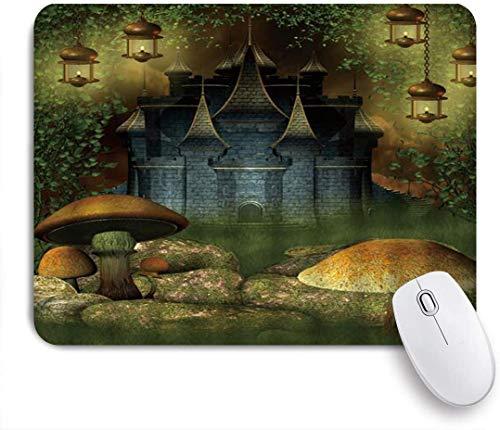 Dekoratives Gaming-Mauspad,Fantasy Castle Pilz Rock Vine Rasen Laterne Fee,Bürocomputer-Mausmatte mit rutschfester Gummibasis