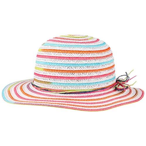 Lipodo Girls Coloured Sommerhut für Mädchen - Bortenhut für Kinder - Kinderhut mit breiter Krempe - Strohhut mit Papierstroh - Strandhut/Schlapphut Frühjahr/Sommer weiß-pink 54 cm