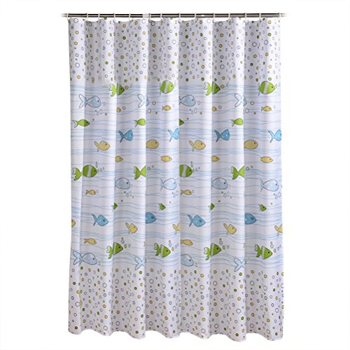 Ounona - Cortina de ducha con diseño de peces, impermeable, resistente al moho, para baño, decoración de baño, 200 x 120 cm