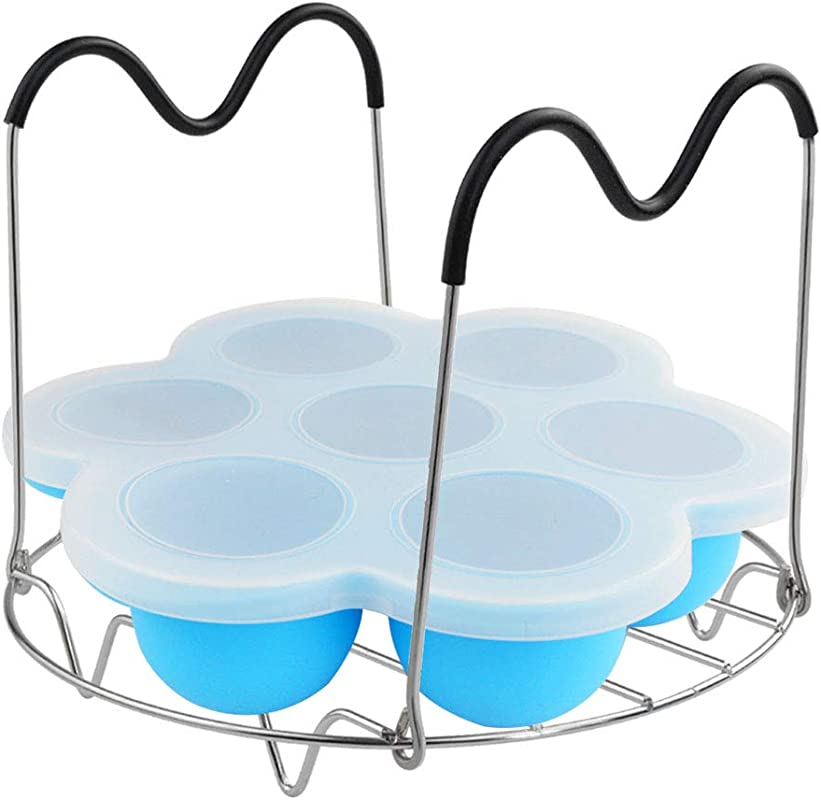 Obmwang Silicone Egg Bites Mold For Instant Pot Accessory And Steamer Rack With Black Handles For 6qt 8qt Pressure Cooker
