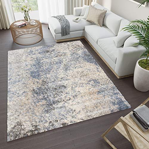 TAPISO Versay Teppich Shaggy Hochflor Langflor Grau Blau Creme Verwischt Meliert Modern Splash Design Wohnzimmer Schlafzimmer ÖKOTEX 140 x 200 cm