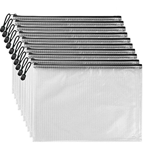 AUSTARK 10Pcs Zippered File Bags, PVC Mesh Document Pouch with Zipper, Receipts Organizer Pencil Bags for Office School Home Travel