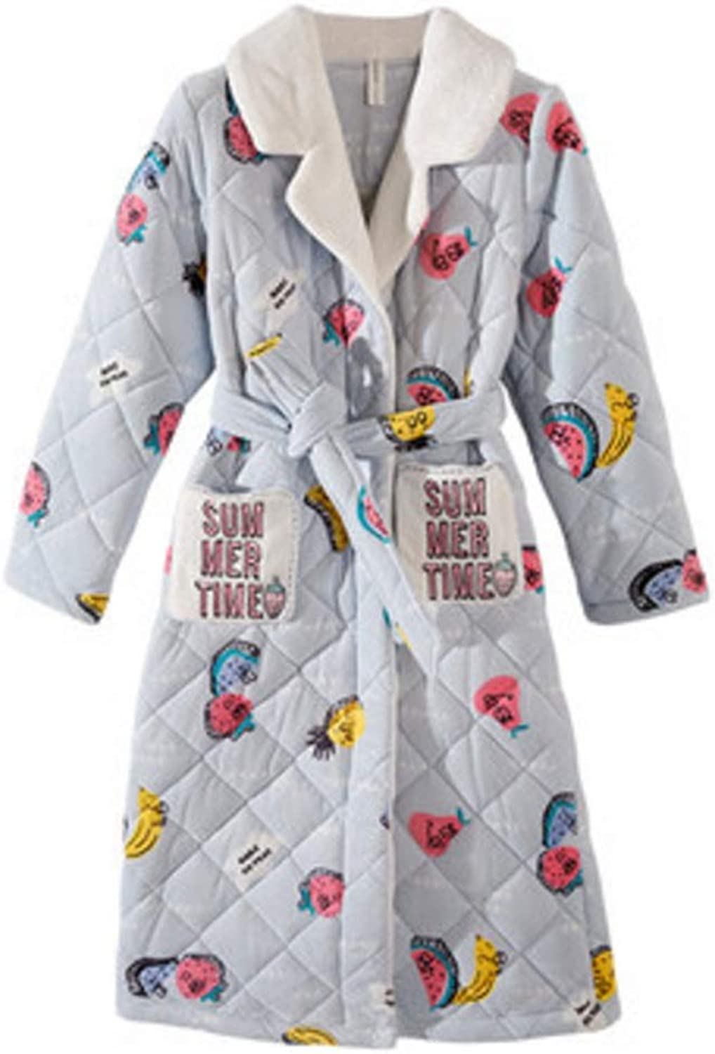 NAN Liang Bathrobe ThreeLayer Thickening 100% Cotton Nightdress Female Cartoon Cardigan Nightgown Home Service Soft (Size   S)