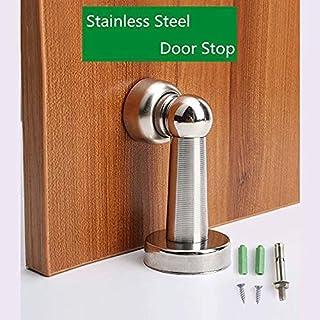 Floor doorstops 2pcs Silver Stainless Steel Door Stopper Soft-Catch Magnetic Door Stop in Brushed Satin Nickel Wall Mount ...