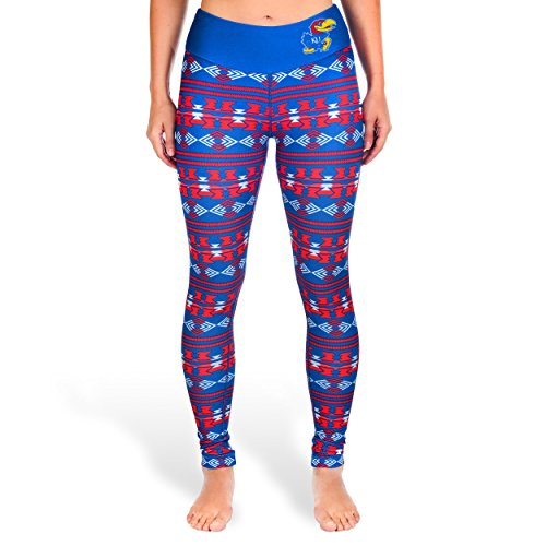 Forever Collectibles NCAA Womens Kansas Jayhawks Aztec Print Leggings, Blue