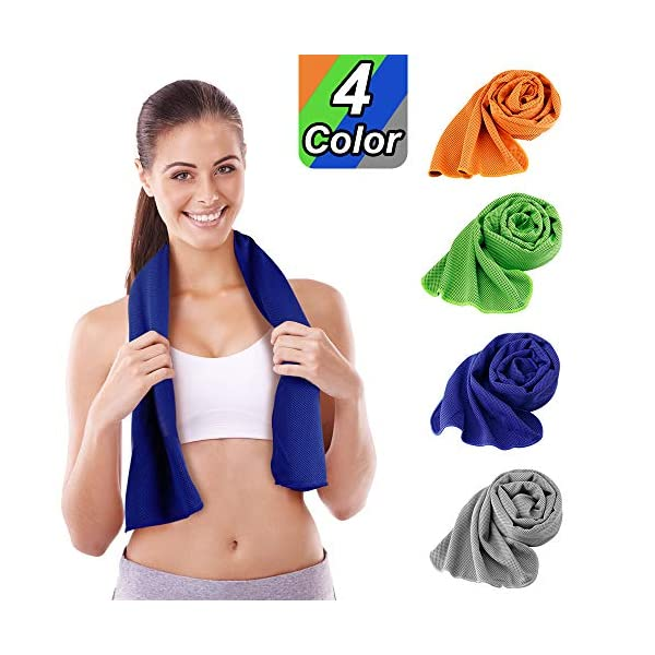KKTICK Cooling Towel 4 Packs, (40″x12″) Microfiber Towel Ice Towel for Instant Cooling Relief, Soft Breathable Chilly Towel for Yoga, Fitness, Sport, Running, Gym, Workout, Camping, Outdoor, Travel