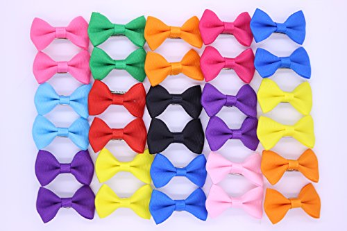 20pcs/10pairs New Dog Hair Clips Small Bowknot Pet Grooming Products Mix Colors Solid Pattern Pet Hair Bows Dog Accessories