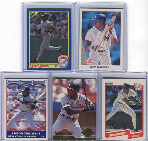 Deion Sanders Assorted Baseball Cards 5 Card Lot