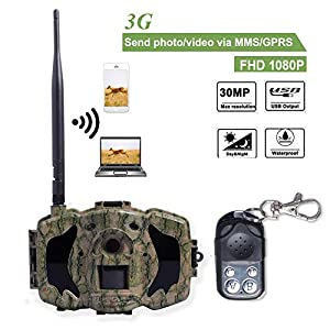 Bolyguard 3G Cellular Wildlife Trail Camera WIFI MMS GPRS with Infrared Night Vision Motion Activated 30MP 1080P Hunting & Scouting Camera +Wireless Remote Control