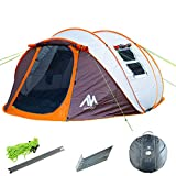 ayamaya Pop Up Tents with Vestibule for 4 to 6 Person - Double Layer Waterproof 3 Season Easy Setup Big Family Camping Tent - Ventilated Mesh Windows Quick Ez Set Up Dome Popup Tents Shelter