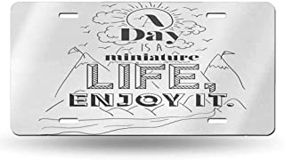 dsdsgog Personalized License Plates Quote,Inspirational Positive Life Message Mountains Clouds River Birds Hand Drawn,Charcoal Grey White 12x6 inches,Plate Frames Humor