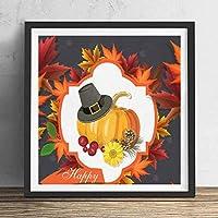 ファッション絵画ポスター - 幸せな感謝祭のカボチャ紅葉 - 壁掛け 壁飾り - 23x23cm(額縁を送る)