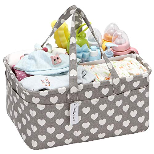 Hinwo Baby Windel Caddy 3-Compartment Infant Nursery Tote Aufbewahrungsbehälter Tragbare Organizer Neugeborenen Dusche Geschenkkorb mit abnehmbarem Teiler 16 unsichtbaren Taschen für Windeln