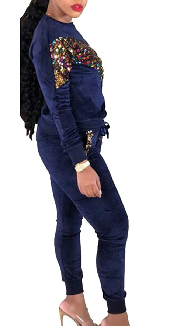 ダイアクリティカルペルメルについて女性スパンコール2ピース衣装スウェットシャツとジョガーパンツセットトラックスーツ