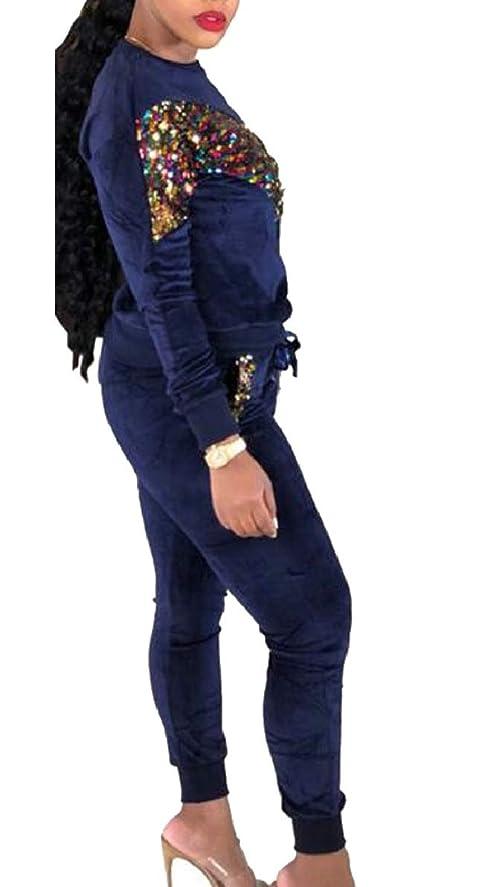 祝福線形どうやって女性スパンコール2ピース衣装スウェットシャツとジョガーパンツセットトラックスーツ