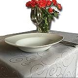 JEMIDI Tischdecke Ornamente Seidenglanz Edel Tisch Decke Tafeldecke 31 Größen und 7 Farben Grau 110×140 - 4